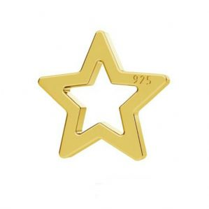 10 Sterling Silver  Star Charm 6mm 24K Gold Plated